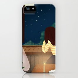 Elegant Gril In Room Drawing iPhone Case