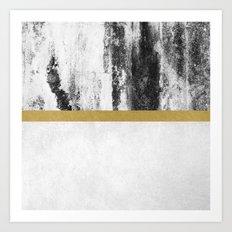 Golden Line / White Art Print