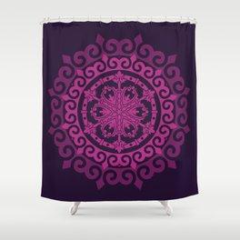 Pink Mandala on Dark Purple Shower Curtain