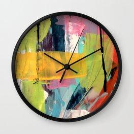 Hopeful[2] - a bright mixed media abstract piece Wall Clock