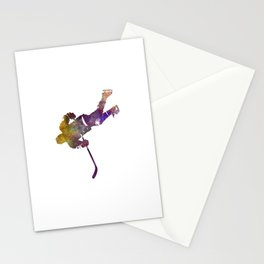 Skater with stick in watercolor Stationery Cards