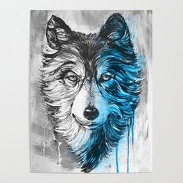 blue night wolf Poster