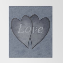 Hearts with background - denim photocollage Throw Blanket