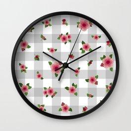 Sweet Pink Roses - grey check Wall Clock