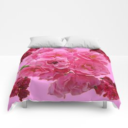 DECORATIVE FRILLY SCENTED PINK ROSE CLUSTERS ON PINK Comforters