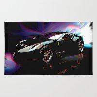 ferrari Area & Throw Rugs featuring New Ferrari by JT Digital Art