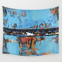 Stallion Blue Modern Painting Abstract Art Landscape Wall Tapestry