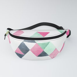 Geometrical pink mint green white gray watercolor Fanny Pack