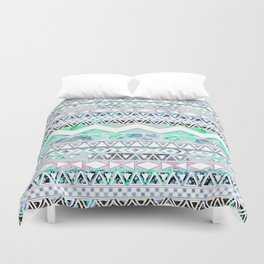 Teal Girly Floral White Abstract Aztec Pattern Duvet Cover