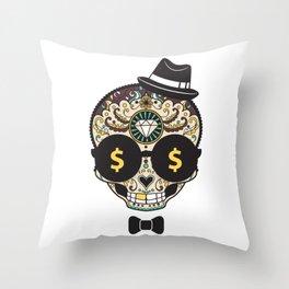 Classy Halloween Money Sugar Skull  Throw Pillow