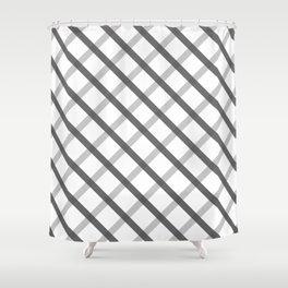Gray White Square Pattern Geomeric Shower Curtain