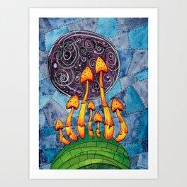 Trippy Acid Mushrooms Watercolor Painting Art Print