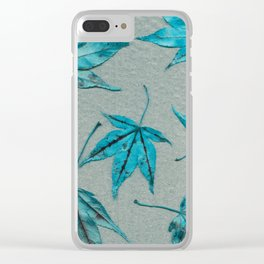 Japanese maple leaves - turquoise on silver gray paper Clear iPhone Case