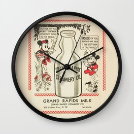 Old school mickey mouse / minnie Mouse / milk Wall Clock