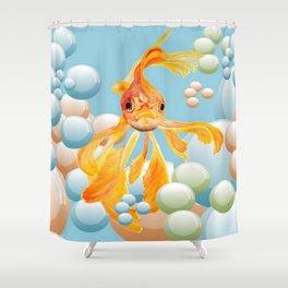 Vermillion Goldfish Blowing Bubbles Shower Curtain
