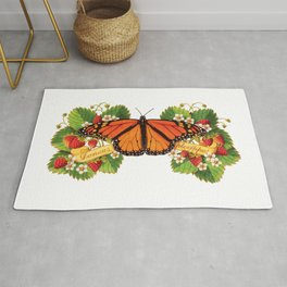 Monarch Butterfly with Strawberries Illustration Rug