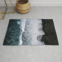Aerial of a Black Sand Beach with Waves - Oceanscape Rug