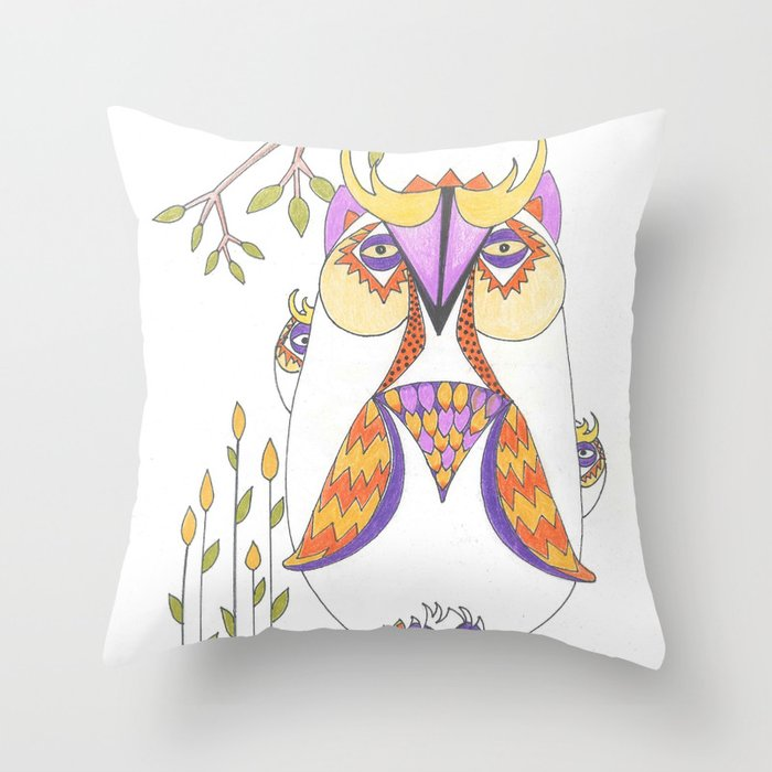 Whimsical Mama Owl and Baby Owls Throw Pillow
