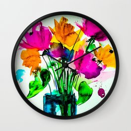 big colorful bouquet Wall Clock