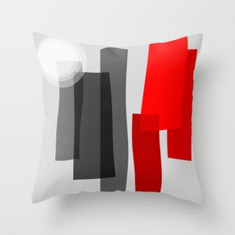 A Place I Remember - Abstract - Black, Gray, Red, White Throw Pillow