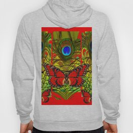 RED MONARCH BUTTERFLIES LIME COLOR PEACOCK ART Hoody