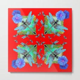 RED MODERN ART BLUE DRAGONFLIES MORNING GLORY Metal Print