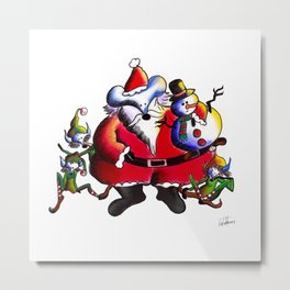 Christmas Santa, Lucas the Mouse Metal Print