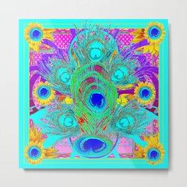 Decorative Nouveau Aqua-Turquoise Peacock Abstract Art Metal Print