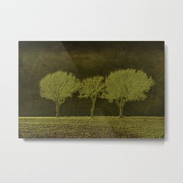 Three Fog Trees Green #1 Metal Print
