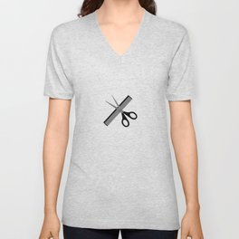 scissors & comb Unisex V-Neck
