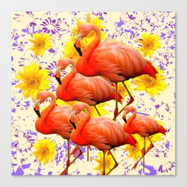 MODERN CREAM-YELLOW ART FLAMINGO  FLORAL PURPLE  ABSTRAC Canvas Print