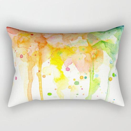 Rainbow Watercolor Pattern Texture Rectangular Pillow