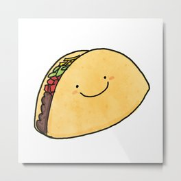 Cute Taco White Background Metal Print
