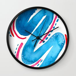 Feeling Electric Blue Abstract Watercolor Wall Clock