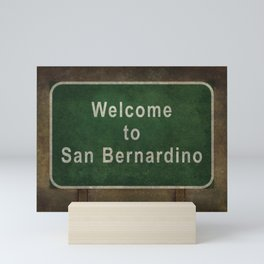 Welcome to San Bernardino roadside sign illustration Mini Art Print