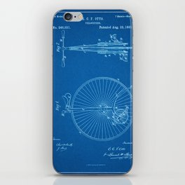 1881 Velocipede Patent - Blueprint Style iPhone Skin