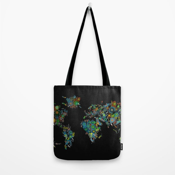 world map feathers mandala Tote Bag