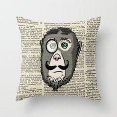 Detective Monkey Head Throw Pillow