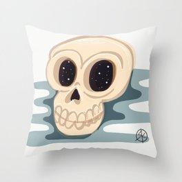 very scary skull Throw Pillow