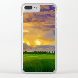 hurricane storm landscape digital oil painting akvop std Clear iPhone Case