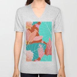 Coral Ginger Flowers + Elephant Ears in Rust Unisex V-Neck