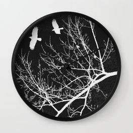 Crows Flying Over Trees Negative Silhouette Wall Clock