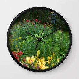 Garden With Lamp Wall Clock