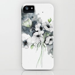 Watercolor Anemones with abstract background iPhone Case