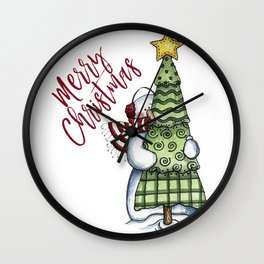 Merry Christmas Snowman with Tree Wall Clock