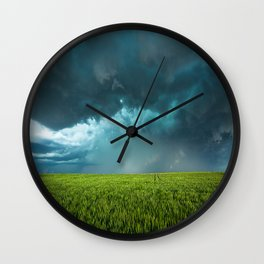 April Showers - Colorful Stormy Sky Over Lush Field in Kansas Wall Clock