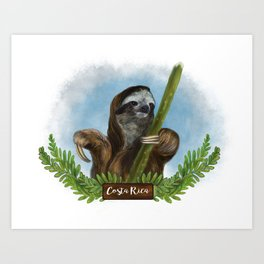 Costa Rica Sloth Art Print