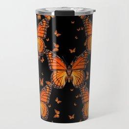 ORANGE MONARCH BUTTERFLIES BLACK MONTAGE Travel Mug