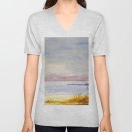 Original Watercolor Dead Sea in Winter Time Unisex V-Neck