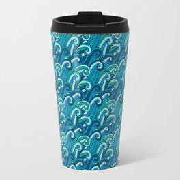 Stylized Blue Ocean Waves Travel Mug